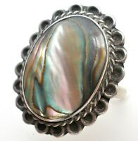 Vintage Abalone Shell Ring Sterling Silver Mexican Size 6 Green Inlay Jewelry