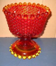 VINTAGE AMBERIA ORANGE BULLSEYE CANDLEWICK GLASS CANDY DISH CANDLE