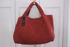 Authentic FALOR Italia Woven Leather Purse/Tote-Reddish Brown (Brick)-NWT-$800+