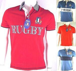 Polo Uomo Rugby F.I.R. Originale Ufficiale FIR Maglia Italia Blu Rosso D469