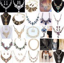 Fashion Women Bib Choker Crystal Pearl Chain Pendant Statement Necklace Jewelry