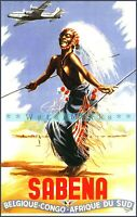 Belgian Congo 1956 South Africa Sabena Air Vintage Poster Print Retro Style