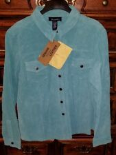 Denim & Co Leather Jacket Turquoise Blue Size XL New w Tags QVC orig over $100.
