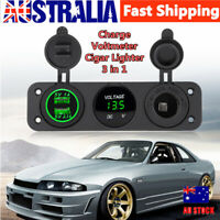 Green LED Dual USB Charger Voltmeter Cigar Lighter Power Outlet for Car Boat se