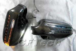 Fits Mercedes R230 02~04 SL-Class 3K CARBON FIBER Arrow LED Side Mirror Cover
