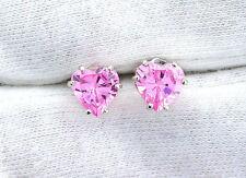 Heart Pink Ice CZ Gem Gemstone .925 Pure Sterling Silver Earrings EBS1340
