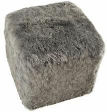 Eco Lambskin Stool Cube Stool Ottoman Foot Stool Grey 42 x 42 X 42 CM