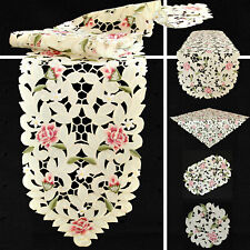 Rose Flower Open embroidery Table runner Tablecloth Doily Cream