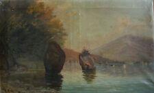 ::OTTO ALBERT KREBS *1870 - 1955 °SEEUFER LANDSCHAFT MIT FELSEN JUGENDSTIL / LMZ