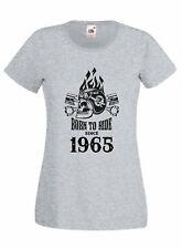 T-shirt Maglietta donna J2235 Motor Skull Born To Ride Since 1965 Compleanno