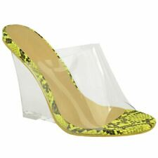Womens Ladies Clear Wedge High Heels Slip On Sandals Open Toe Party Shoes Size