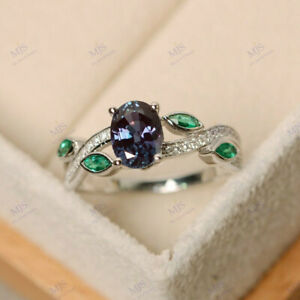 1.25CT Oval Cut Alexandrite & Emerald Leaf Engagement Ring 18K White Gold Over