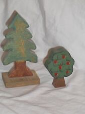 Collectible Lot of 2 Wooden Trees for Village or Train Layout