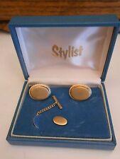 Men's Vintage Gold Tone STYLIST Cufflinks & Tie Tack Set in Original Box