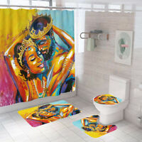 African Lover Bathroom Rug Set Shower Curtain Non Slip Toilet Lid Cover Bath Mat