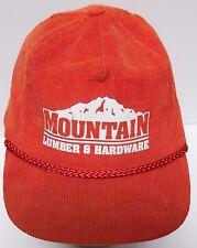 Vtg 1990s MOUNTAIN LUMBER HARDWARE COMPANY RED CORDUROY ADVERTISING SNAPBACK HAT