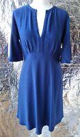 MANGO SUIT DRESS S UK10 EU38 US6 blue knee length  viscose high waist v neck