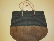 Merona Target Leather Straw Beach Tote Bag Purse Black/Brown Natural Paper
