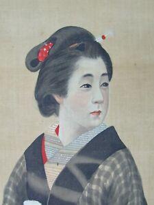 ANTIQUE 19th C. JAPANESE ORIGINAL WATERCOLOUR SCROLL PAINTING OF GEISHA GIRL