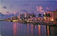 Miami Florida~Indian Creek @ Dusk~Hotel Row~1970 Postcard