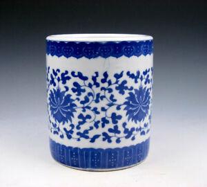 Blue&White QINGHUA Porcelain Floral Patterns Painted LARGE Brush Pot #02032105