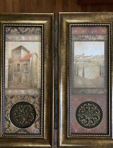 Tuscan wall framed decor & Clock