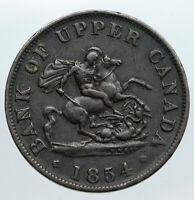 1854 UPPER CANADA Antique UK Queen Victoria HALF PENNY BANK TOKEN Coin i90532