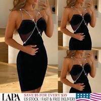 LAPA Sexy Women's Sequin Bodycon Dress Ladies Evening Party Ball Gown Mini Dress