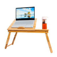 Durable Folding Portable Adjustable Bamboo Laptop Desk Table Bed Serving Tray