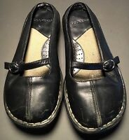 Dockers Black Leather Slides Mary Jane Mules Flats Shoes Women's Size 6.5 W Wide