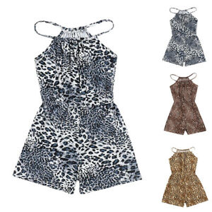 Kid Girl Summer Sleeveless Leopard Printed Jumpsuit Casual Fashion Romper Shorts