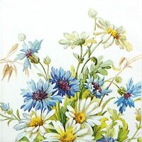 4x Single Table Party Paper Napkins for Decoupage Decopatch Craft Cornflower
