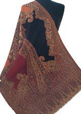 """Red & Black Wool Jamavar Shawl. Paisley Wrap from India  Pashmnina style 80""""x27"""""""