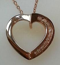 Quelques Diamants 9 ct Or pendentif coeur diamant 18