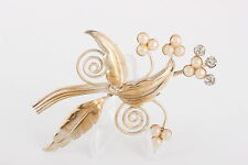 Stone Flowers Fashion Brooch 5354 Leaf Faux Pearl Blossoms Clear