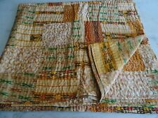 Indian Silk Sari Patola Kantha King Quilt Vintage Patchwork Gudri Home Bedspread