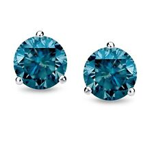 3.00CT Round Blue Diamond Martini Stud Earrings 14K White Gold Over CHRISTMAS