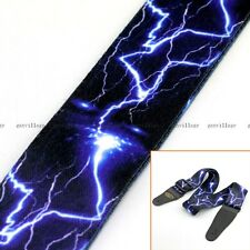 Cool Lightning Guitar Strap Blue Polyester Electric Acoustic Bass Rock Punk Solo