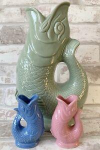 Wade Ceramic Gluggle Jug Fish   Vase   Utensils - Range of Colours & Sizes