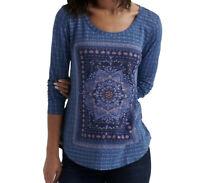 Lucky Brand Women's Size M Blue Mandala Print Scoop Neck Knit Top Tee Boho