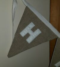 PERSONALISED LINEN BIRTHDAY BUNTING 15cm flags - 18th /21st /50th (per letter)