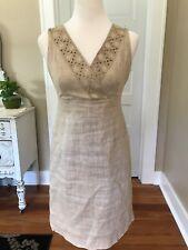 Talbots Petites Tan Linen Dress. Size2P. Worn Once!