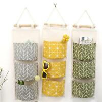 3 Pockets Wall Hanging Linen Storage Bag Door Closet Sundries Pouch Organizer QK