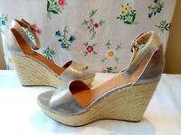 Next Ladies Silver PU Leather Espadrille Wedge Sandals UK 8 BNWOB (New)