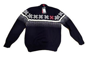 DALE of Norway 1/4 Zip Wool Snowflake Sweater 2018 Olympics, Size XL NEW