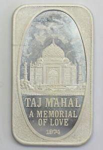 1974 USSC Taj Mahal A Memorial of Love USSC-209, .999 Fine Silver Art Bar