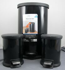 MainStays 3 Piece Step Waste Trash Can Set - Carbon Steel Black - 1x 30L - 2x 5L