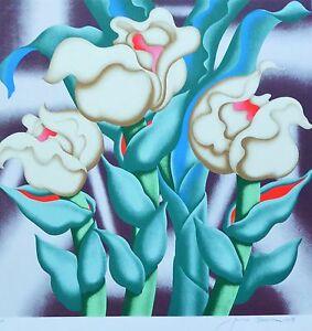 """Jack Brusca  """"Hybrid"""" flower 1979 Original serigraph HAND SIGNED N.Y ARTIST"""