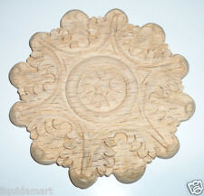 5'' DECORATIVE EMBOSSED SOLID HARDWOOD RED OAK WOOD ROUND APPLIQUE SCULPTURE TI