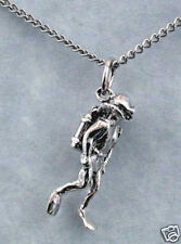 Scuba Diver Necklace Pendant with dual tanks regulator fins, sterling silver